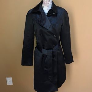 Anne Klein Black Trench Coat Satin 6 Petite 6P